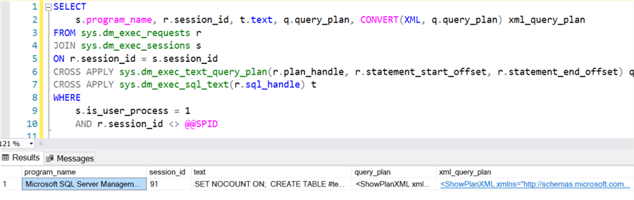 Query using sys.dm_exec_text_query_plan This DMF will return the executing statement query plan