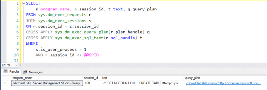 Re-execute sys.dm_exec_query_plan The query plan will be available when all statements in the batch are compiled