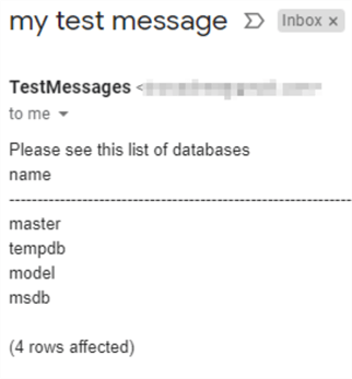 "This screenshot shows an email in an inbox with the message ""Please see this list of databases followed by a plain text output of the query."