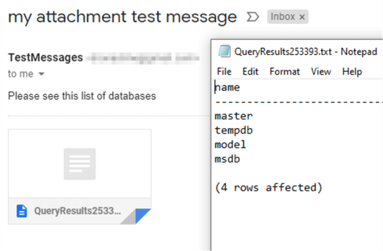 "This screenshot shows an incoming email with an attachment named ""QueryResults253393.txt"".  The content of that attachment is the same plain text output as the previous message body."