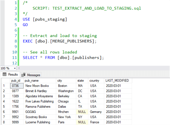 Execute stored procedure to extract, load, and view results.