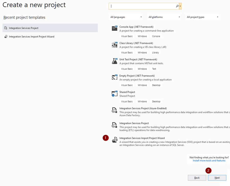 Integration Services Import Project Wizard