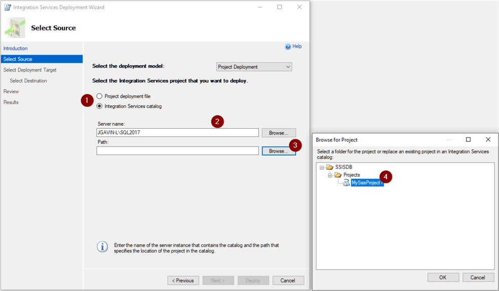 Select SSIS Project source server and path