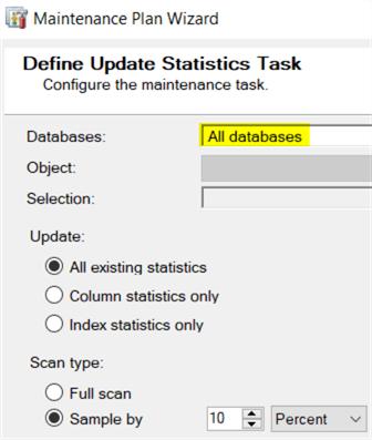 定义更新统计信息任务