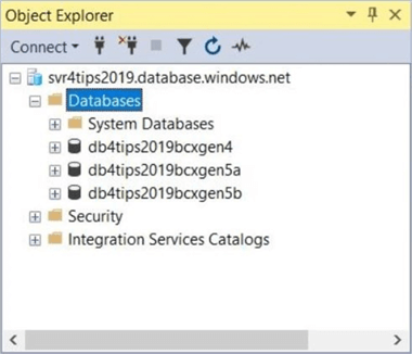 Object explorer showing all three databases