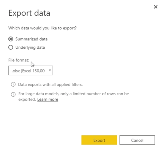 Export Data options.