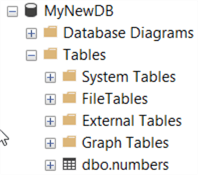 This screenshot shows the numbers table as an object in object explorer of the newly created database.