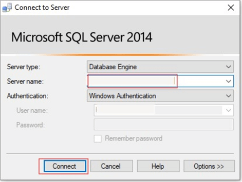 Server connection to SQL source