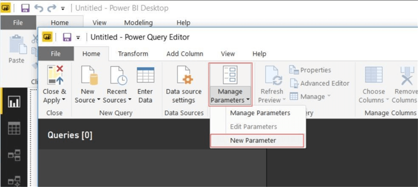 Creating parameters in Query Editor