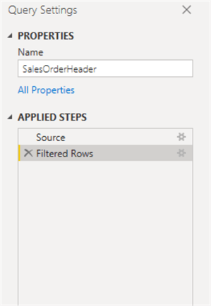 Query Settings showing no Query Folding A