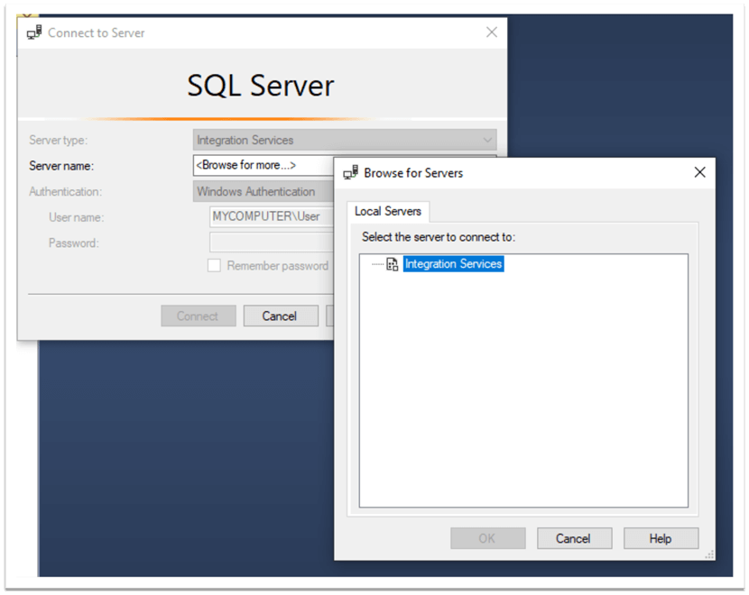 connect to sql server integration services