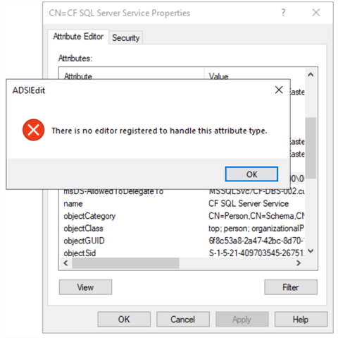 ADSI Edit error when an attempt is made to open the setting because the data type for RBKCD entries is NT Security Descriptor.