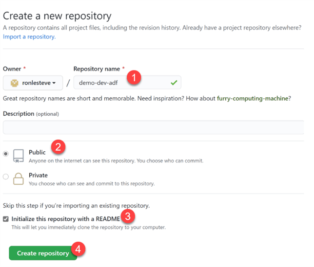 Create Repo Detailed steps