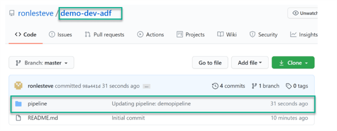Git reflecting adf pipeline commit