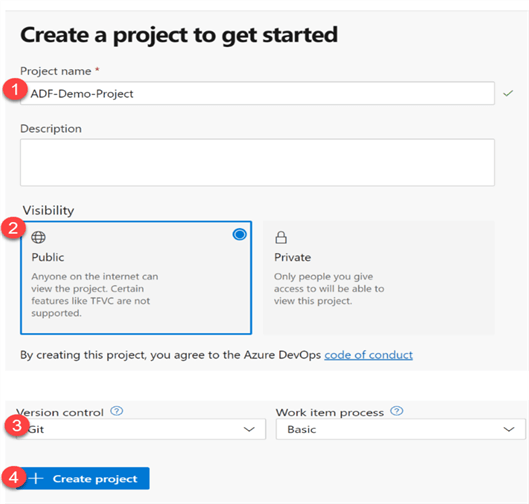 Steps to create a new ADO project
