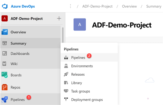 Steps to create a new ADF Build Pipeline
