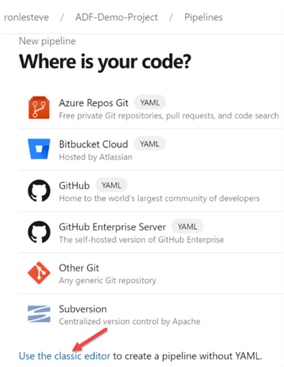 ADO image depicting where to find GitHub Code