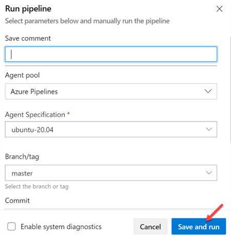 Step to save and run the pipeline in ADO
