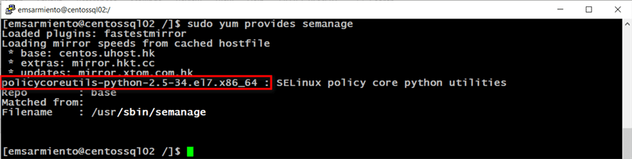 configure selinux primary server for log shipping
