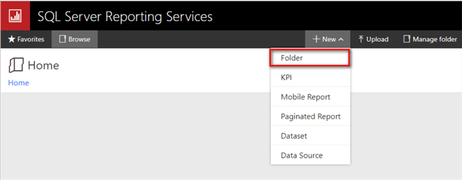 The screenshot demonstrates how to add and a new folder to the report server.