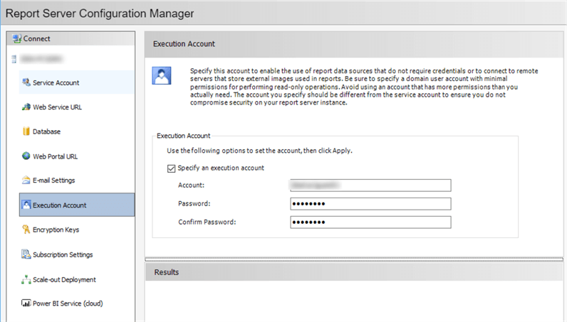 "The screenshot shows the ""Execution Account"" tab in the ""Report Server Configuration Manager"" dialog, in which we can set up an Unattended Execution Account."