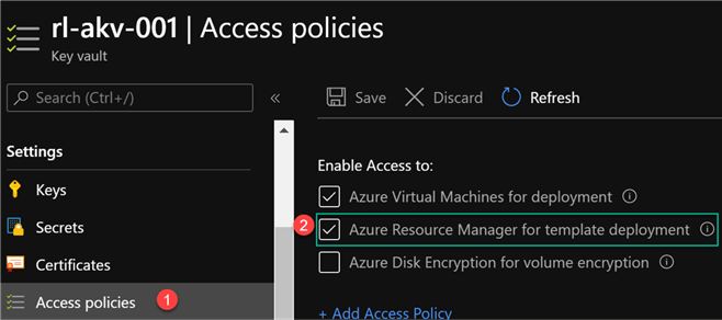 AKVAccessPolicies Image on how to set ARM Access policies