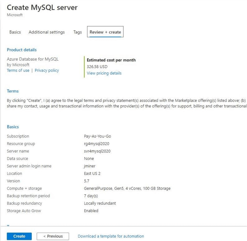 Azure Database for MySQL - Reviewing chosen settings before creation.