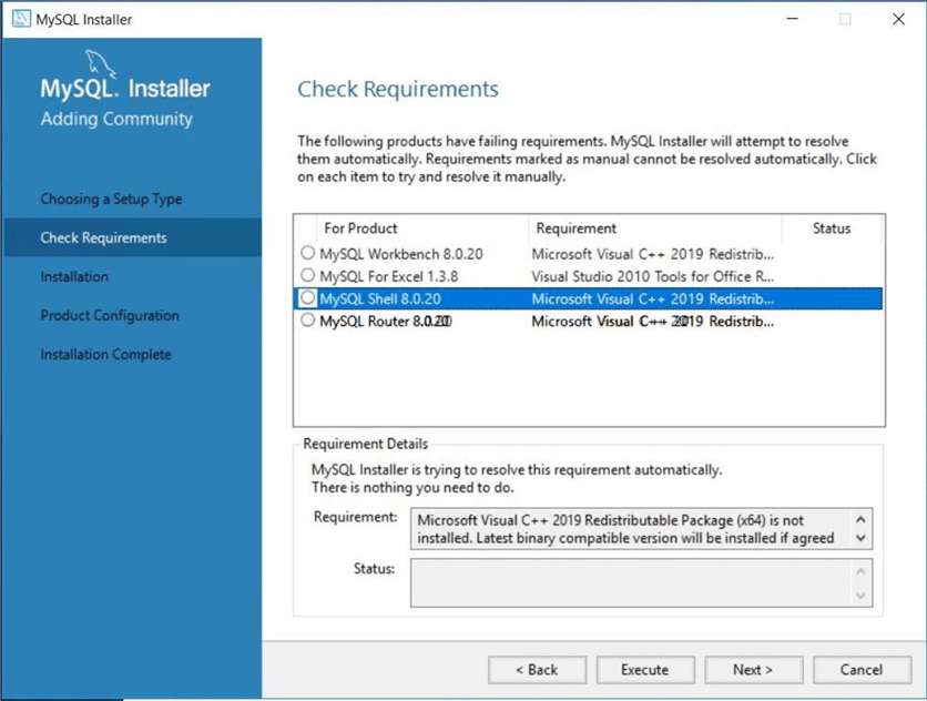 Azure Database for MySQL - Check requirements for client install.
