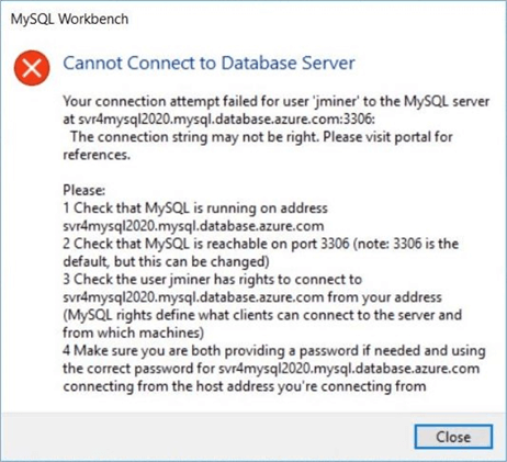 Azure Database for MySQL - Failed attempt due to firewall of service.