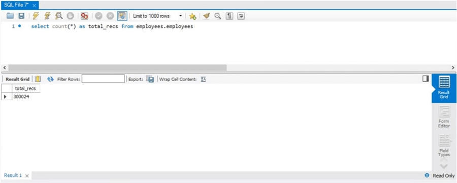 Azure Database for MySQL - Simple select statement against employee table.