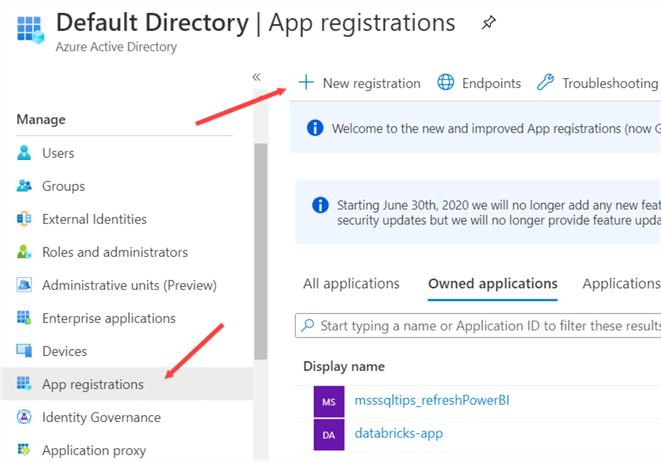 create new app registration