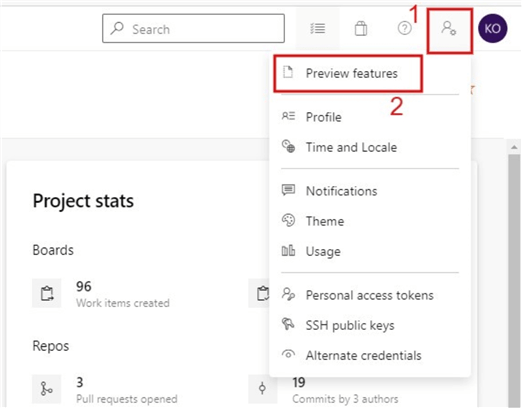 Screenshot on how to navigate to Azure DevOps Preview features