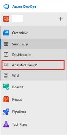 Screenshot Azure DevOps blades showing  Analytics Views
