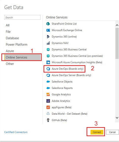 Screenshot showing connection to Azure DevOps (Boards only)