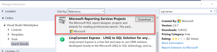 install visual studio extensions ssrs