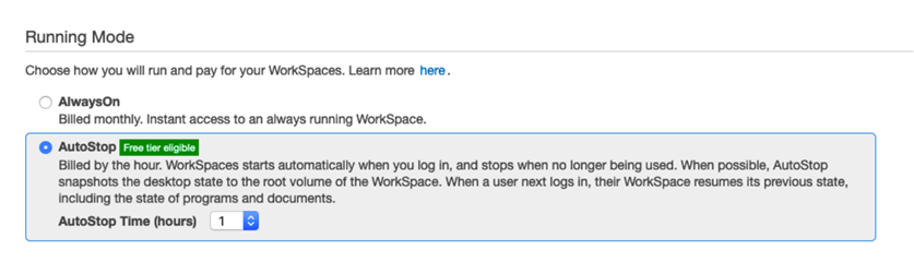 AutoStop or AlwaysOn Configuration for WorkSpaces