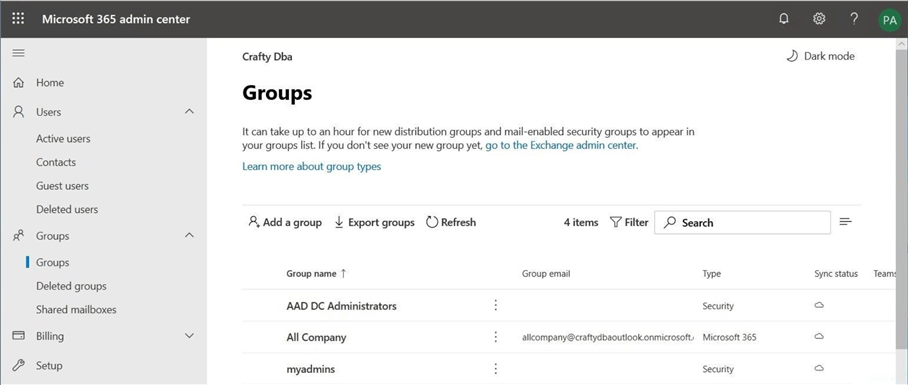 Manage Power BI Workspaces - Office 365 Admin Portal - Groups Menu