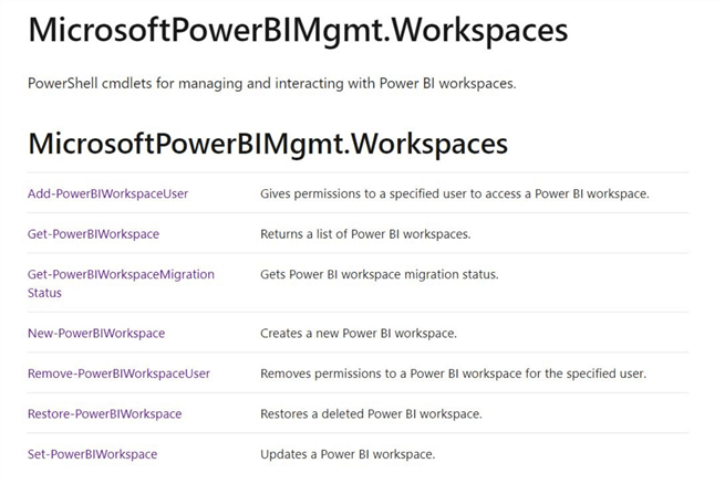 Manage Power BI Workspaces - Power Shell cmdlets for Workspaces