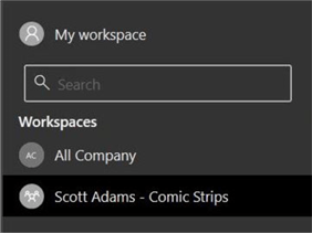 Manage Power BI Workspaces - Power BI GUI view of new workspace