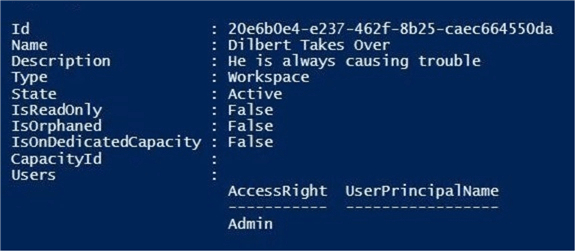 Manage Power BI Workspaces - Power Shell cmdlet shows updated description