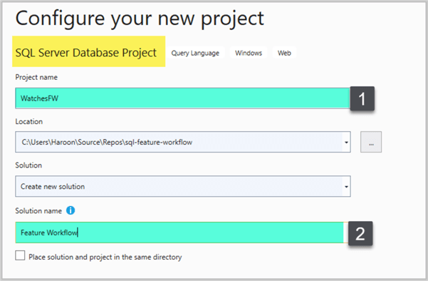 Configuring new database project