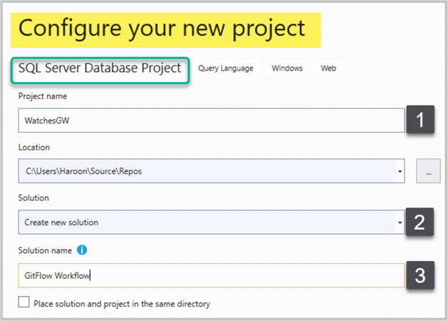 Creating new SQL Database Project