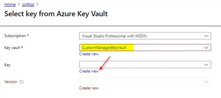 select key from azure key vault