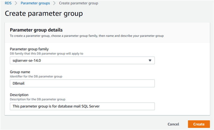 default parameter group
