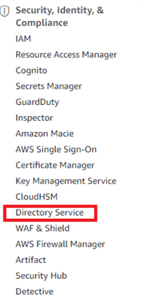 Directory Service link in the AWS Management Console.