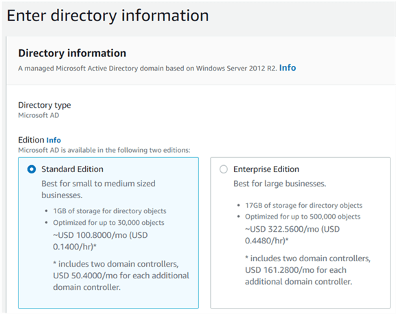 Selecting the Active Directory edition.