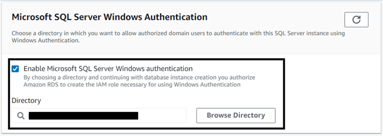 Configuring Amazon RDS SQL Server instance for Windows authentication.