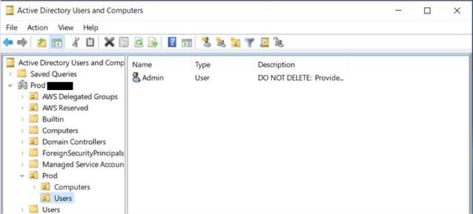 Registering the Active Directory as the Admin user