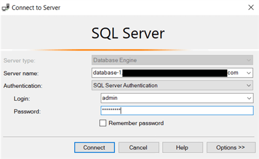 Logging in to RDS SQL Server as the master user