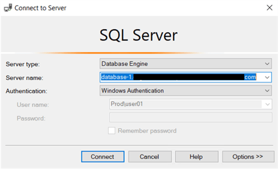 Logging into the RDS SQL Server instance with Windows authentication.